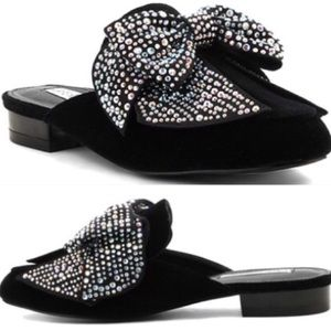 Shoes - Black jeweled bow mules